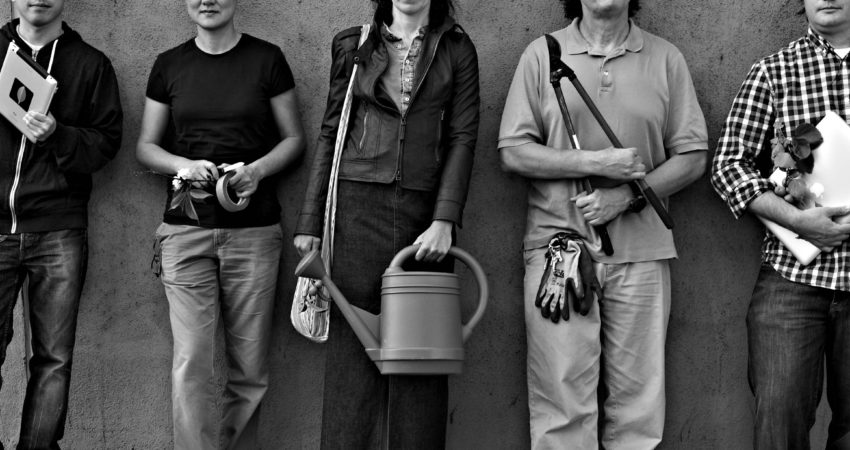 Guerrilla Grafters. 2010-present. Photograph by Nicolas Zurcher. From left to right: Jeff Tchan, Tara Hui, Margaretha Haughwout, Ian Pollock, Jesse Bounds.